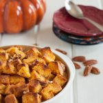 Pumpkin challah bread pudding. A delicious dessert for Thanksgiving or anytime this Fall!