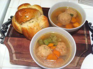 Weekday Matzo Ball Soup with Goodie Godmother Challah bread