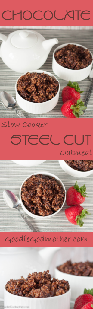 Healthy steel cut oats in the slow cooker... with chocolate!  Recipe on GoodieGodmother.com