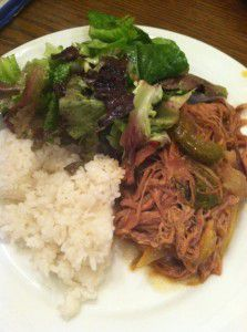 Slow Cooker Ropa Vieja served with rice and salad || Goodie Godmother