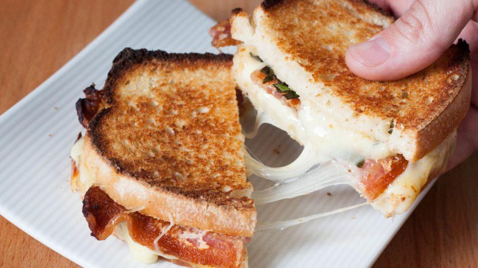 Grilled Cheese Gone Gourmet: Bacon, Basil, Tomato With Mozzarella