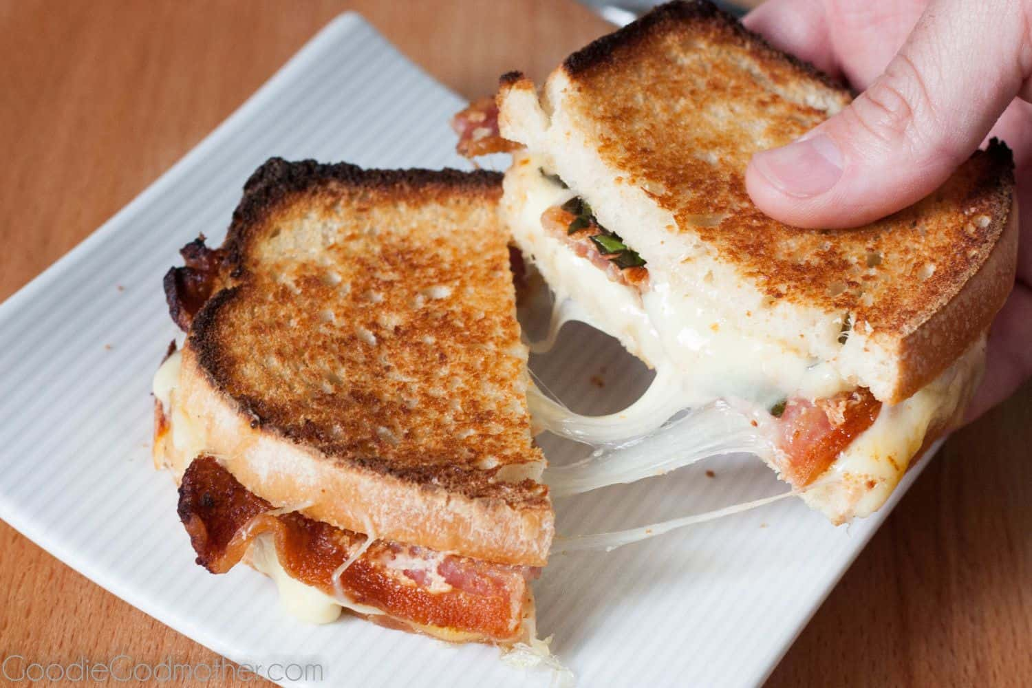 Basil, Bacon, Mozzarella Grilled Cheese. A BBMT? No matter what you call it, it's delicious! Recipe on GoodieGodmother.com