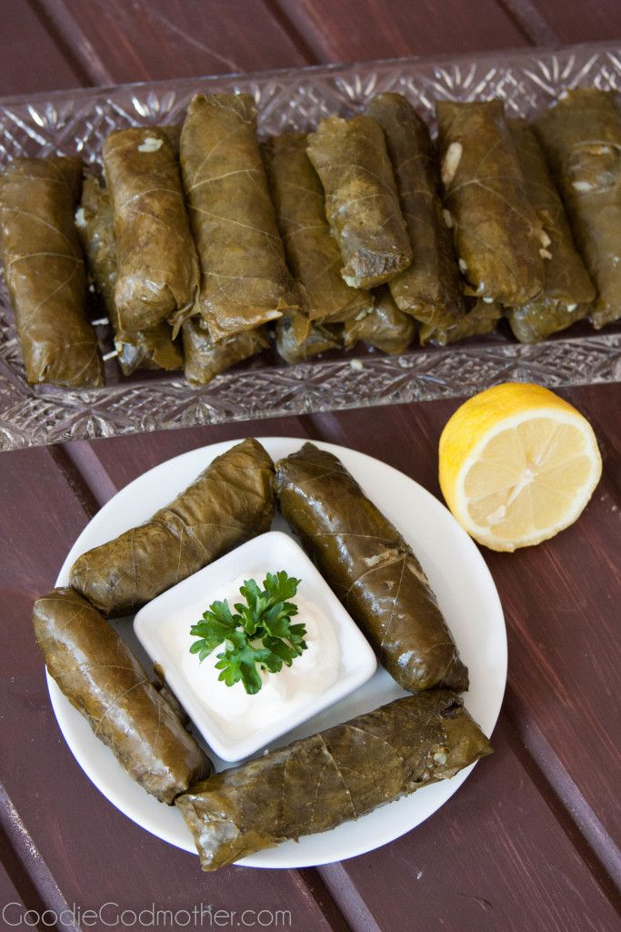 These traditional Middle Eastern stuffed grape leaves are filled with rice and meat to make a filling, hand held meal. Serve with sour cream or plain yogurt!