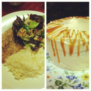 The Godfather and I celebrated our 7th wedding anniversary this week and we enjoyed coconut rice with a havarti, thyme and hazelnut stuffed chicken breast the Godfather created. I should get him to blog!