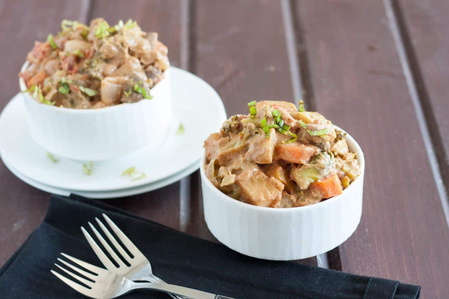 Vegan Thai Bake - This easy recipe is packed with protein thanks to nut butters and dairy-free milks, and has an amazing flavor profile thanks to Thai curry paste. Use your favorite seasonal vegetables, and it's easy and cheap comfort food for a crowd.