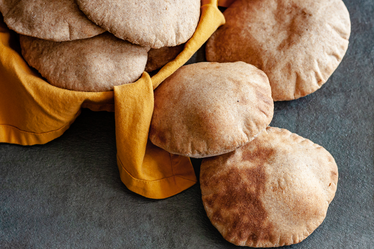 delicious whole wheat pita in a bread basket