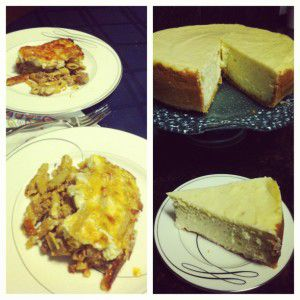 My birthday dinner! Homemade pastitsio and cheesecake!