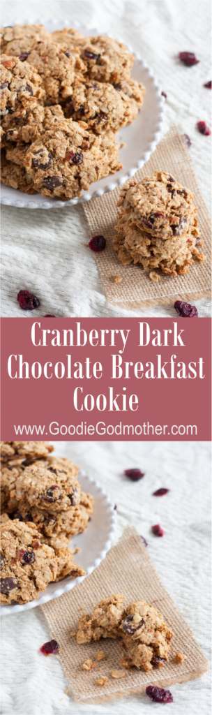 Loaded with oats, nuts, dried cranberries, and dark chocolate, these make-ahead breakfast cookies are freezer-friendly & pair perfectly with a latte or milk. Recipe on GoodieGodmother.com