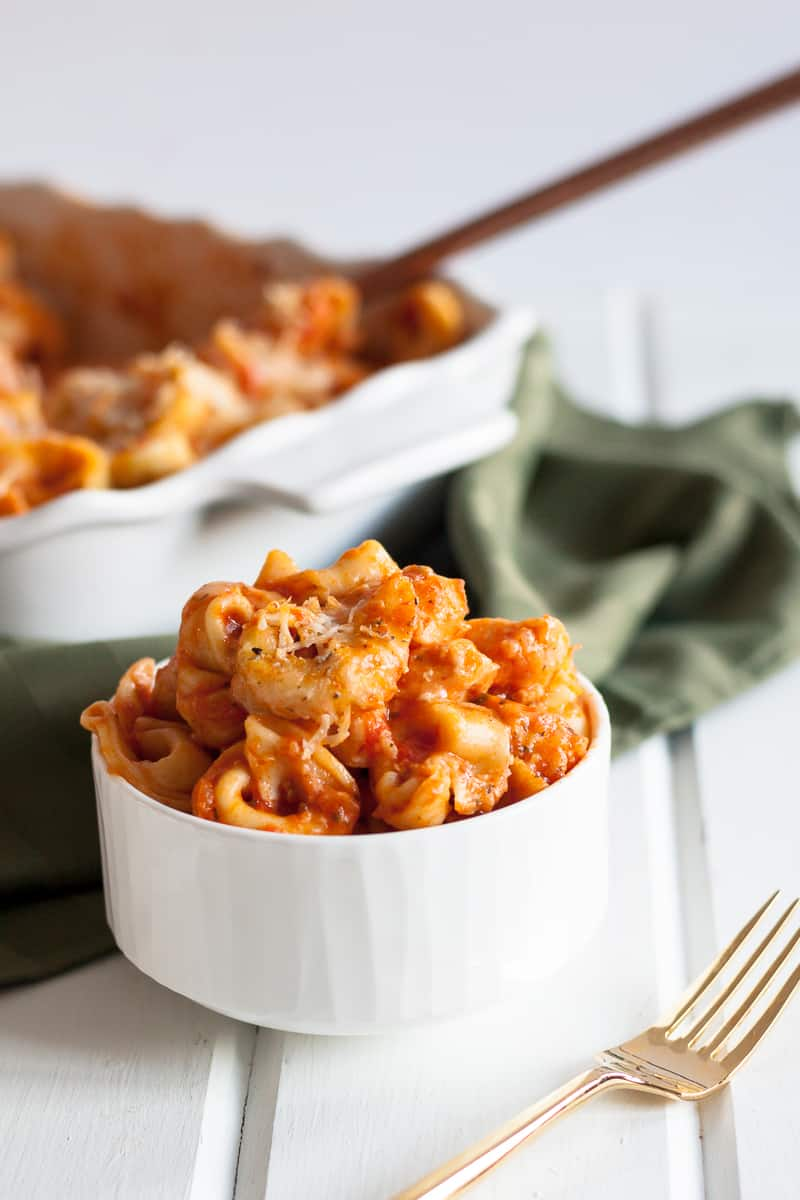 This chicken cheese tortellini is a comforting weeknight dinner recipe that even helps you get ahead on meal prep! Makes 2 - one for now, one for later. * Recipe on GoodieGodmother.com