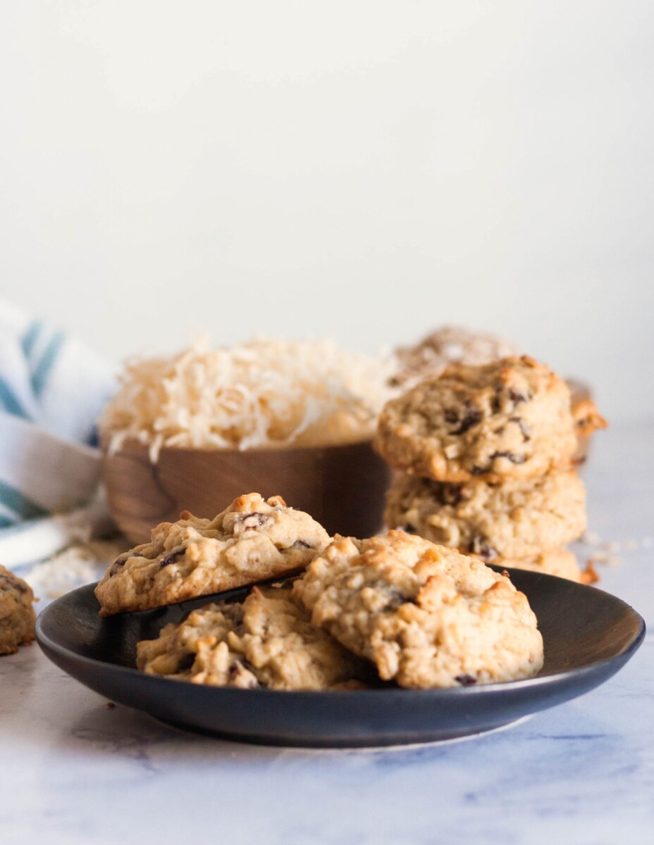 close up of the oatmeal cookies on a plate to highlight the texture and thickness