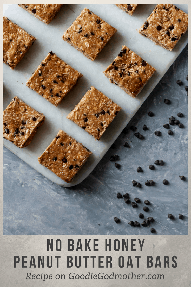 No bake honey peanut butter oat bars make an easy, fun snack perfect for the whole family to grab-and-go! * GoodieGodmother.com #nobake #peanutbutter #honey #diygranolabars #easysnack