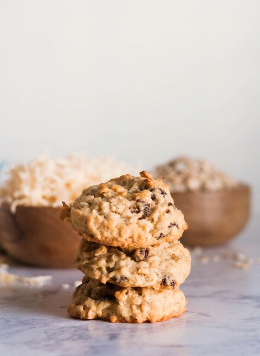 stacked coconut oatmeal raisin cookies