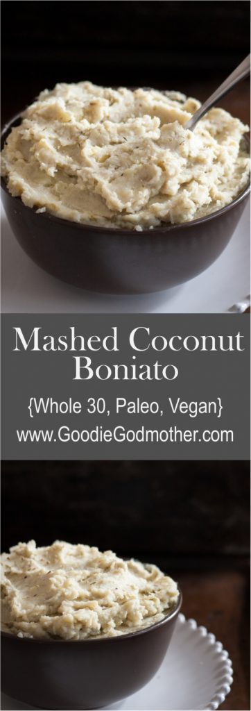 Mashed coconut boniato (sweet potato) is a delicious and easy recipe suited to many clean eating diets. It's also a fabulous dairy free mashed potato dish for the holidays! * GoodieGodmother.com
