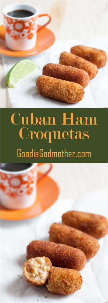 Travel to Miami not required. Make Cuban croquetas de jamon at home with this easy to follow recipe. You can even make them in advance and cook from frozen! Croquetas are a perfect afternoon snack paired with Cuban coffee, light lunch, appetizer, or party food idea. * GoodieGodmother.com