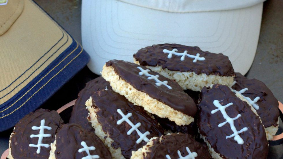 Coconut Dark Chocolate Crispy Rice Football Treats