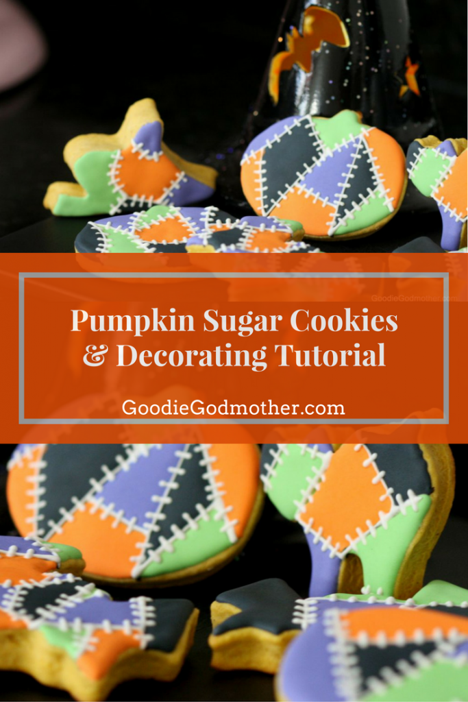 Make pumpkin flavored sugar cookies that hold their shape with this pumpkin sugar cookie dough recipe! Video included demonstrating a Frankenstein-inspired royal icing decorating tutorial. These would also be cute for Thanksgiving cookies! * Recipe on GoodieGodmother.com