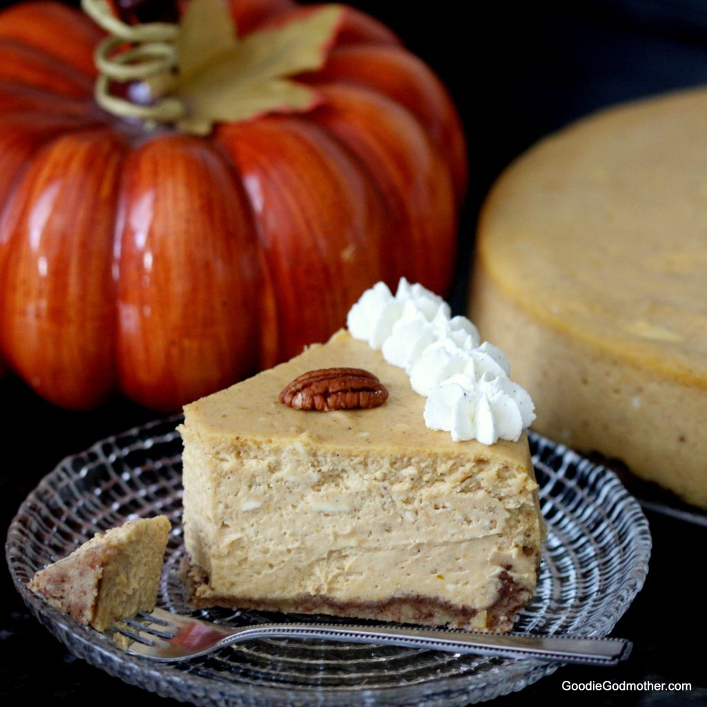Gluten Free Pumpkin Cheesecake by Goodie Godmother