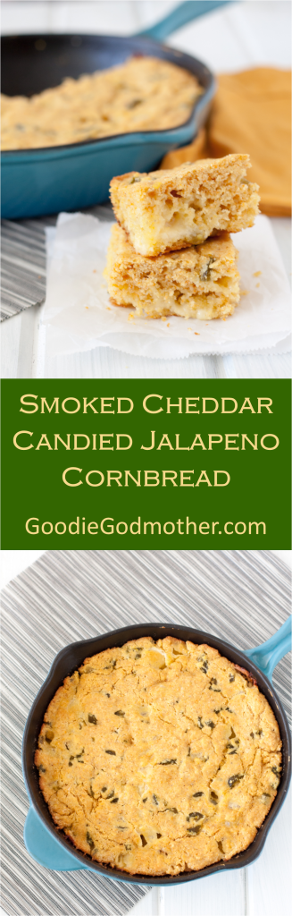 Smoked Cheddar Candied Jalapeno Cornbread - Spicy with a hint of sweet and cheesy... need I say more? Recipe on GoodieGodmother.com