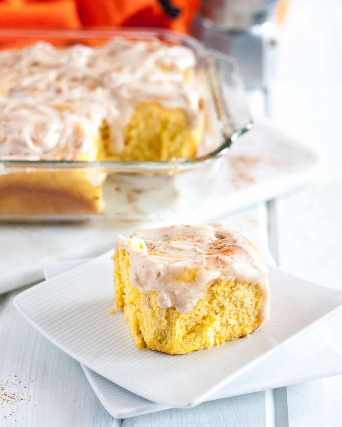 Prep these from scratch pumpkin cinnamon rolls the night before and bake the next morning for an amazing breakfast treat! With pumpkin in both the batter and filling, this may just be the only pumpkin cinnamon roll recipe you'll need!