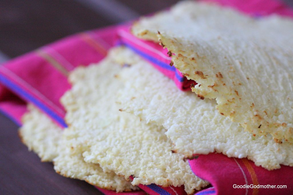 Cauliflower tortillas up close