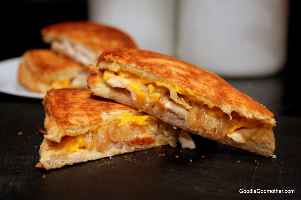 Leftover thanksgiving turkey sandwich with caramelized onions and cheddar on Goodie Godmother recipe blog