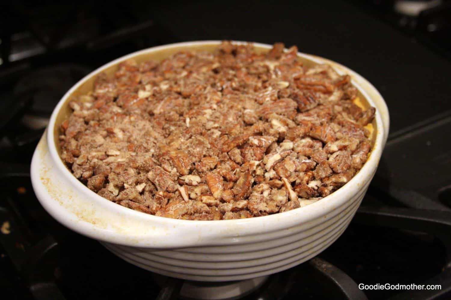 Not Too Sweet Sweet Potato Casserole With Pecans Goodie Godmother