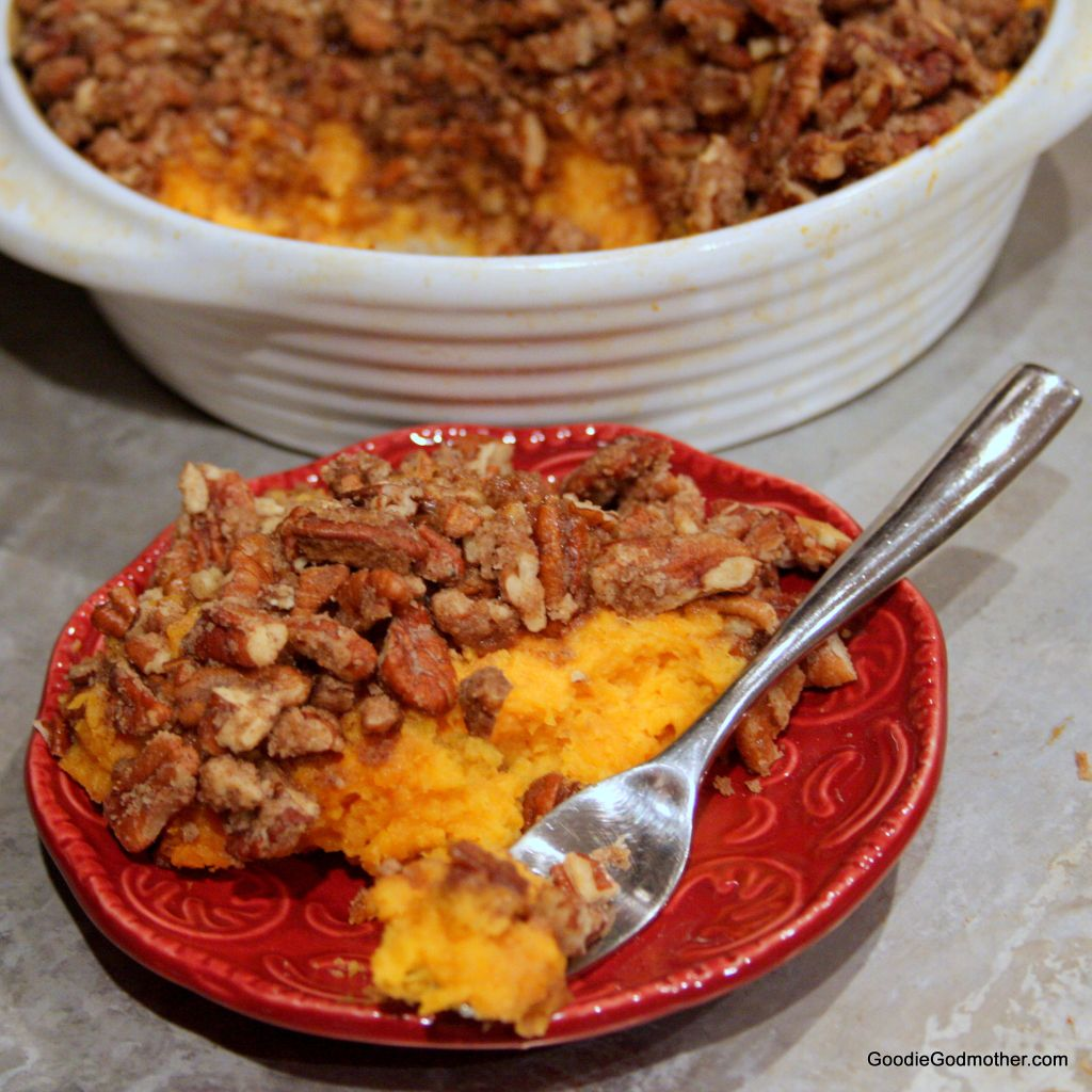 Not Too Sweet Sweet Potato Casserole with Pecans Recipe