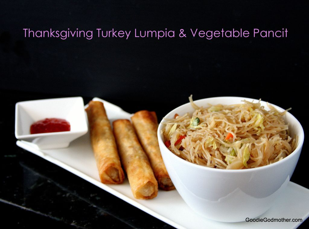 Thanksgiving turkey lumpia and vegetable pancit