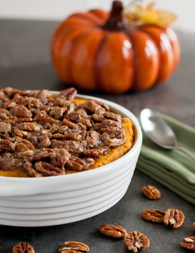"Need a ""not too sweet"" sweet potato casserole? This sweet potato casserole with pecans is a family favorite and so easy for Thanksgiving! * Recipe on GoodieGodmother.com"