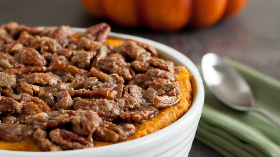 """Not Too Sweet"" Sweet Potato Casserole With Pecans"