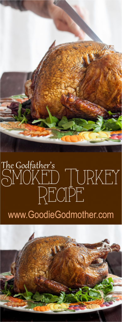 The Godfather's Smoked Turkey - Perfected over nearly a decade, the brine recipe and smoking process for our Thanksgiving turkey results in a juicy, flavorful bird everyone loves. You may also use the brine for a roasted bird if you don't have a grill to smoke. * Recipe on GoodieGodmother.com