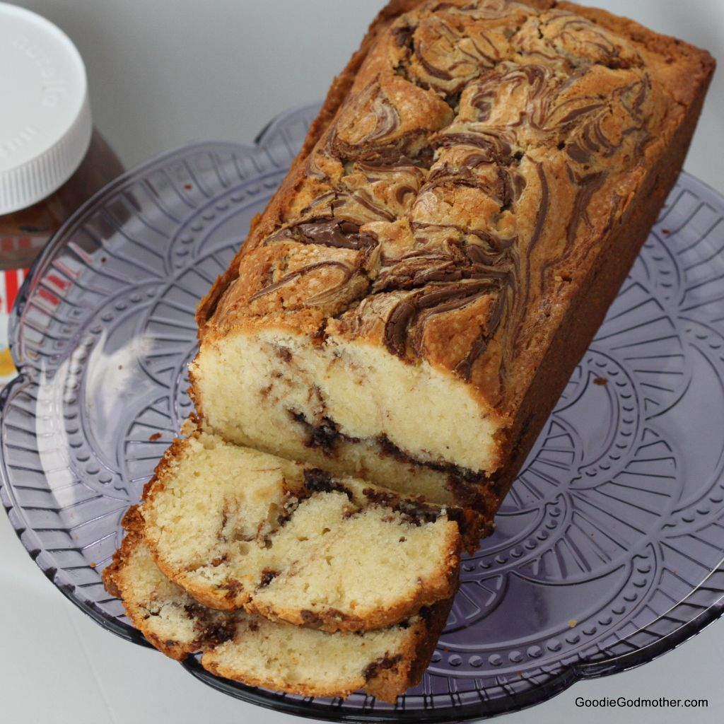 Cream Cheese Southern Pound Cake with Nutella Swirl