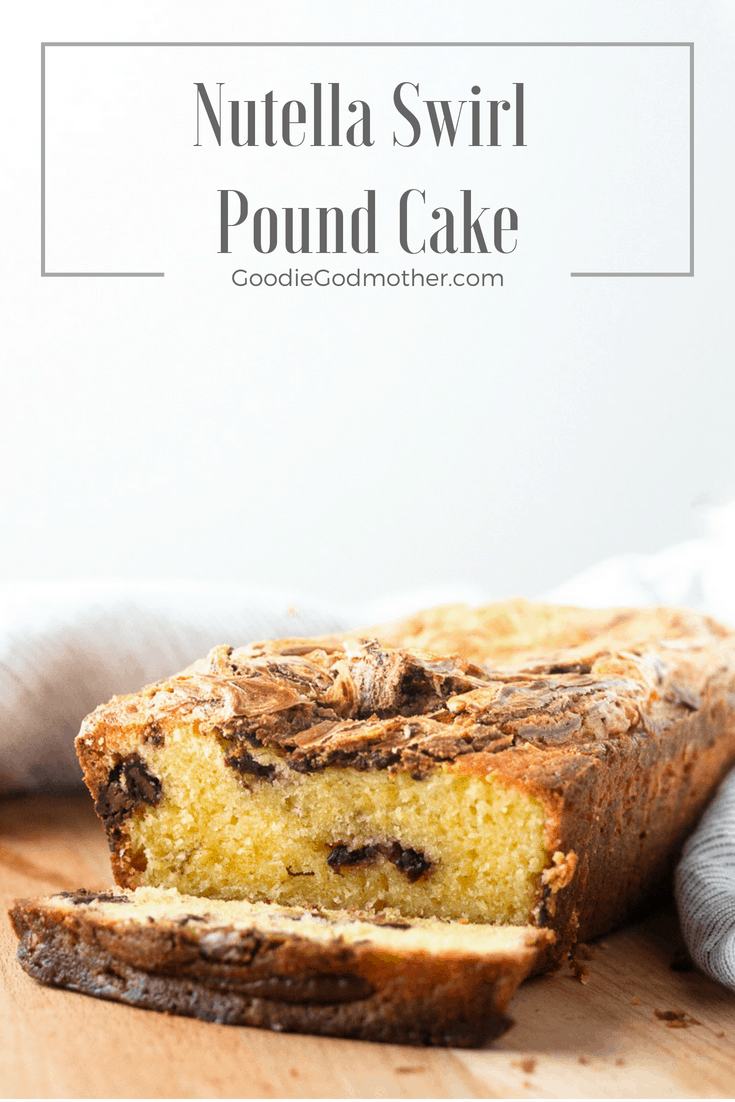 Rich and moist, with a delicious hazelnut chocolate ribbon, Nutella swirl pound cake is a perfectly decadent quick bread recipe. This Nutella bread recipe makes a great snack or edible gift idea. Recipe on GoodieGodmother.com