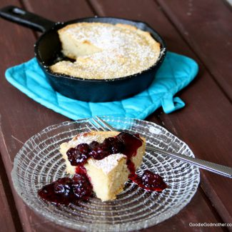 Cast Iron Skillet Pancake with Fresh Blackberry Champagne Compote