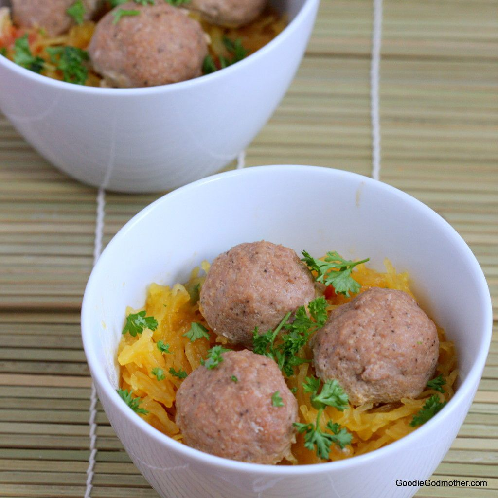 Spaghetti Squash with Turkey Meatballs Recipe