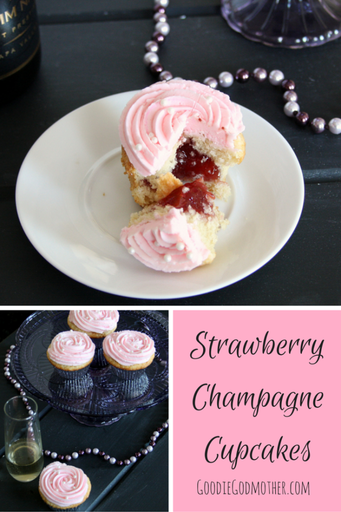 Toast a special occasion with strawberry champagne cupcakes! Champagne in the batter and frosting give cupcakes a celebratory twist with a strawberry filling surprise! Recipe on GoodieGodmother.com