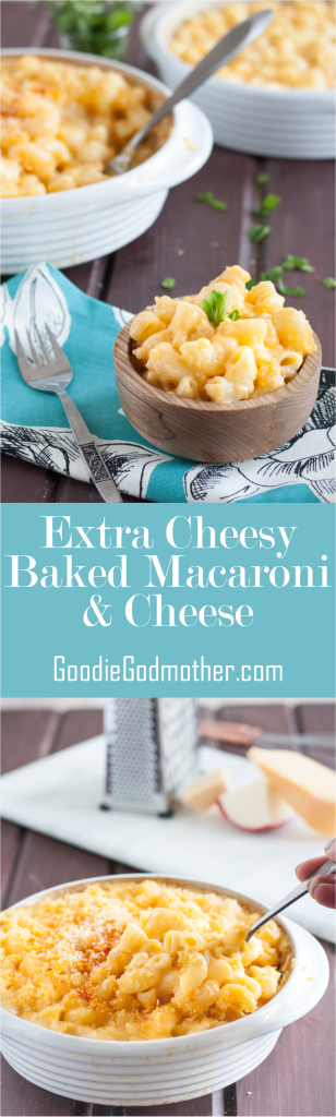 This extra cheesy baked macaroni is the ultimate in comfort food! Ultimate baked macaroni and cheese recipe on GoodieGodmother.com
