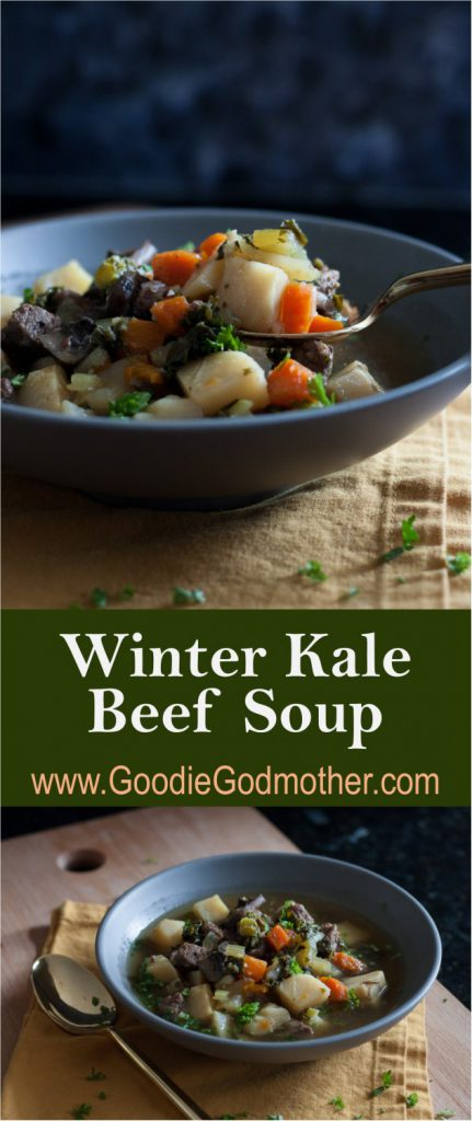 Stay warm when it's cold with nourishing food like this veggie packed winter kale beef soup recipe! * GoodieGodmother.com