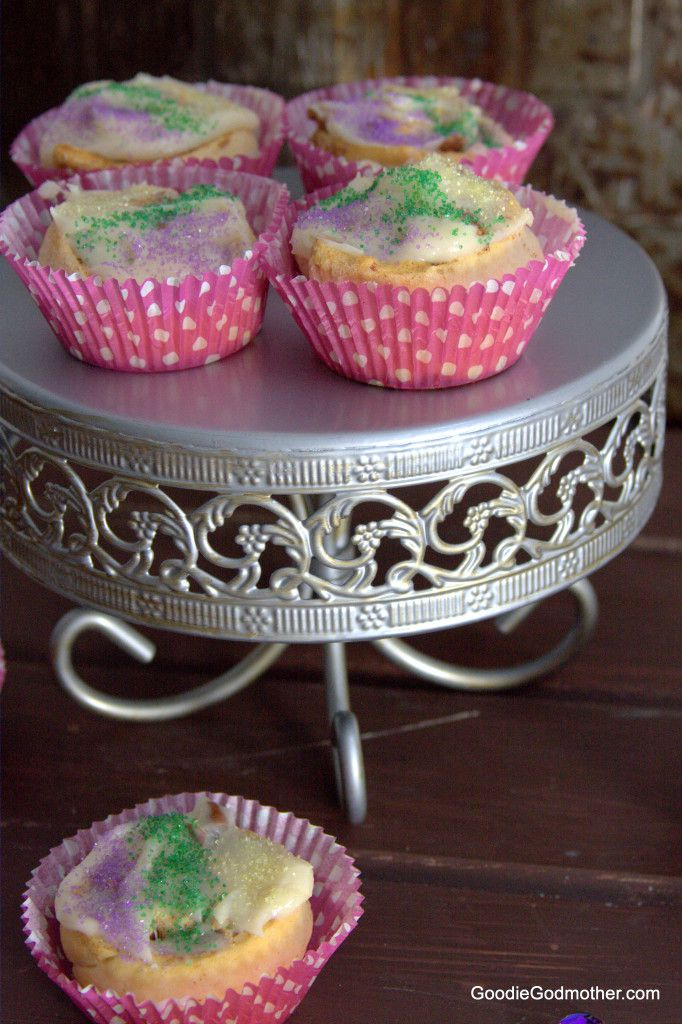 Easy King Cake Cupcake Recipe on Goodie Godmother