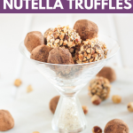 It takes just a few minutes to prep these easy Nutella truffles! Make this delicious chocolate truffle recipe for a gift, or just a delicious dessert to share... or not. #dessertideas #nutella #easydessert #foodgift #chocolatetruffle #sweetrecipe #nobake