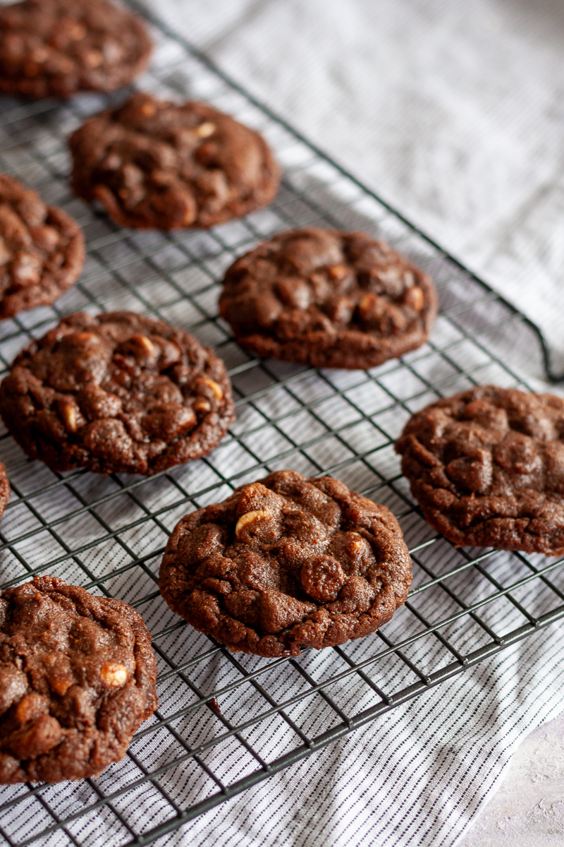 double chocolate chip cookies on a cooling rack