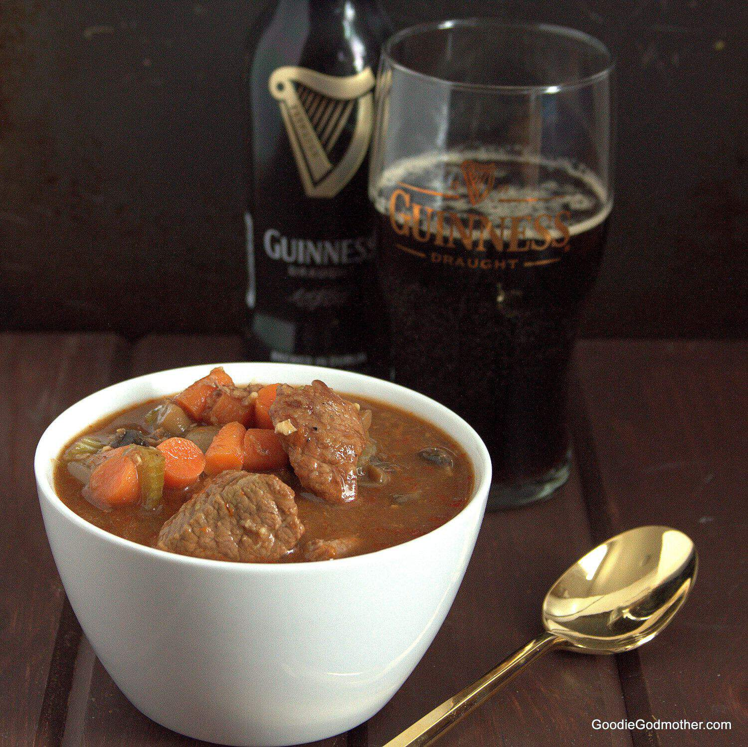 Delicious and surprisingly healthy Guinness Beef Stew Recipe for St Patrick's Day!