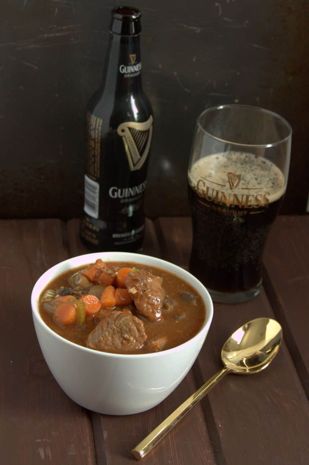 Loaded with vegetables, lean protein, and tons of flavor, this Guiness Beef Stew is a healthier way to celebrate St. Patrick's Day! Recipe on GoodieGodmother.com