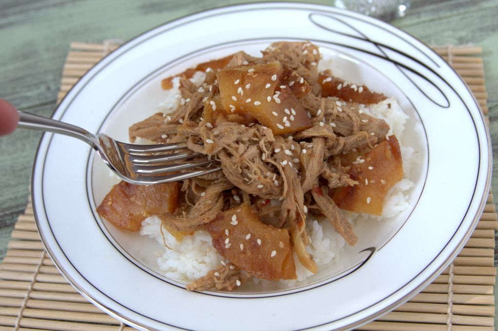 Hawaiian Ginger Sesame Pork in the slow cooker. Easy. Healthy. Delicious! Recipe on GoodieGodmother.com