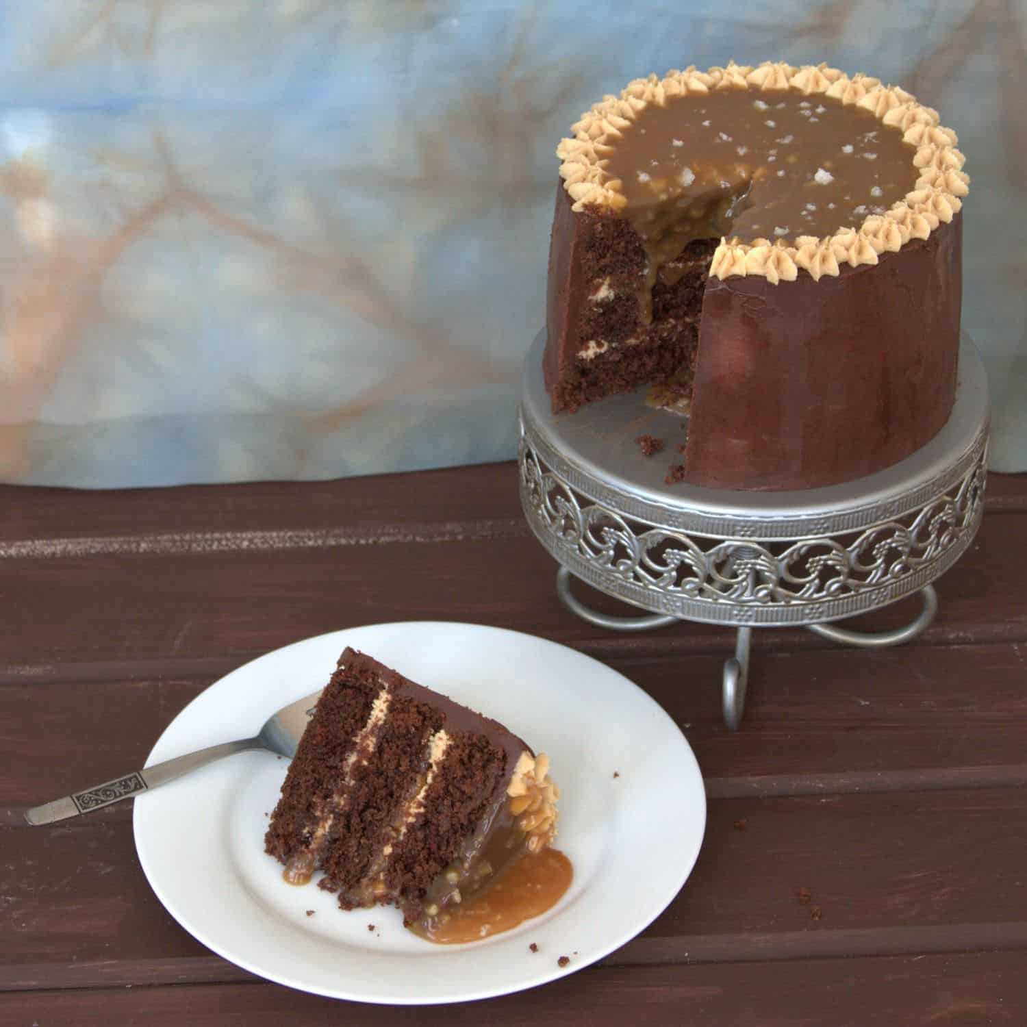 Practically guarantee a standing ovation with this Salted Caramel Chocolate Peanut Butter Cake recipe!