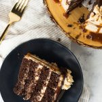 Salted Caramel Peanut Butter Chocolate Cake - rich chocolate cake layered with salted caramel and a from scratch peanut butter frosting * Recipe on GoodieGodmother.com