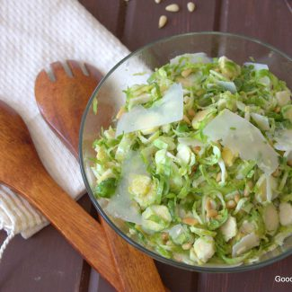 It takes just 10 minutes to make this easy and delicious fresh Brussels sprouts salad with flavors inspired by the Mediterranean!