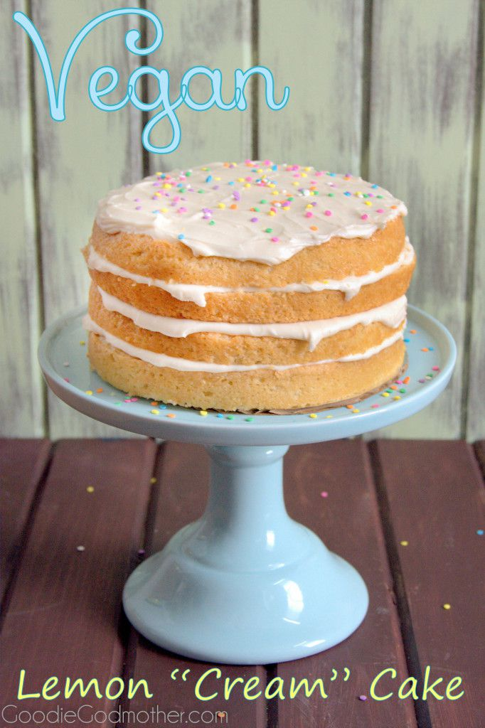Layers of lemon and cream cheese frosting make this VEGAN lemon cream cake a hit with everyone! Visit GoodieGodmother.com for the recipe