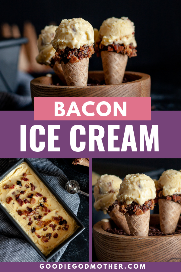 Creamy, salty, and sweet... candied bacon ice cream is a great unique homemade ice cream recipe to cool off in the heat! Get the candied bacon ice cream recipe on GoodieGodmother.com #bacon #icecream #dessertideas #dessertrecipe #glutenfree #howtomake #icecream #bacondesserts
