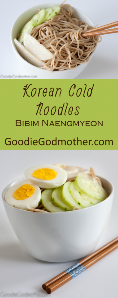 An easy Korean Cold Noodle recipe that's less spicy than traditional versions so the whole family can enjoy it!